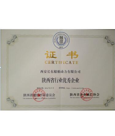 行业优秀企业证书